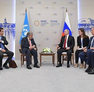 El presidente ruso, Vladímir Putin, y el secretario general de la ONU, Antonio Guterres