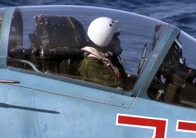 Un piloto militar ruso en Siria (imagen referencial)