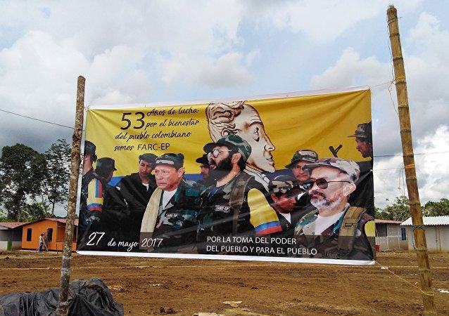 Banner del 53 aniversario de la lucha de FARC-EP