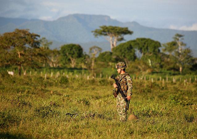 Un militar colombiano en una región ocupada por los guerrilleros (archivo)
