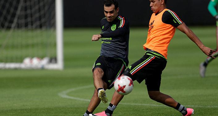 Rafa Márquez durante un entrenamiento de la selección mexicana