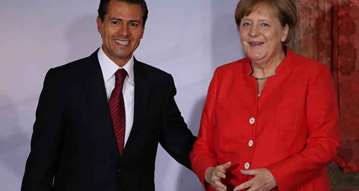 Angela Merkel, canciller alemana, y Enrique Peña Nieto, presidente de México