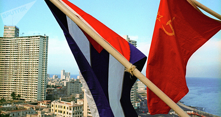 Flag of USSR and flag of Cuba in Havana, Cuba