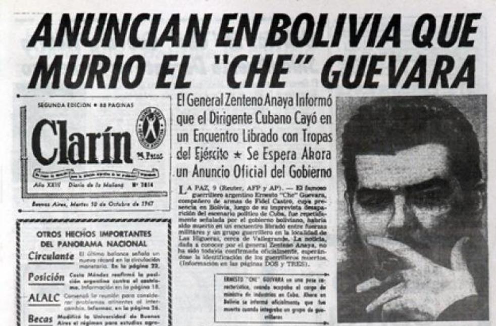 Portada del periódico argentino Clarín, datado del 10 de octubre de 1967, anuncia la muerte de Ernesto 'Che' Guevara.