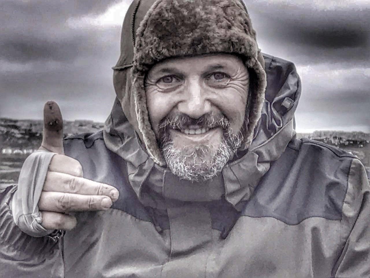 El excombatiente Germán Feldman en las islas Malvinas