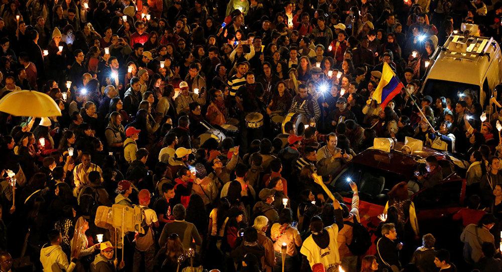 Protesta de maestros en Colombia