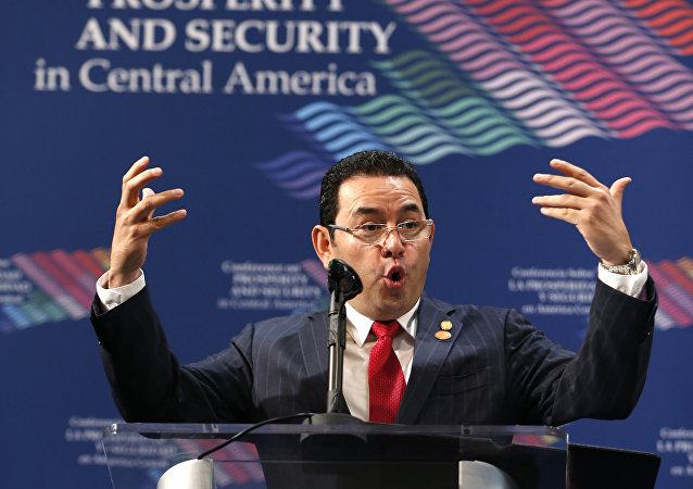 Jimmy Morales, presidente de Guatemala, en la conferencia de Prosperidad y Seguridad en América Central