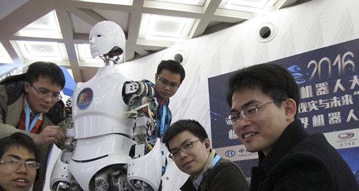 Un robot, en la Conferencia del Mundo Robot en Pekín