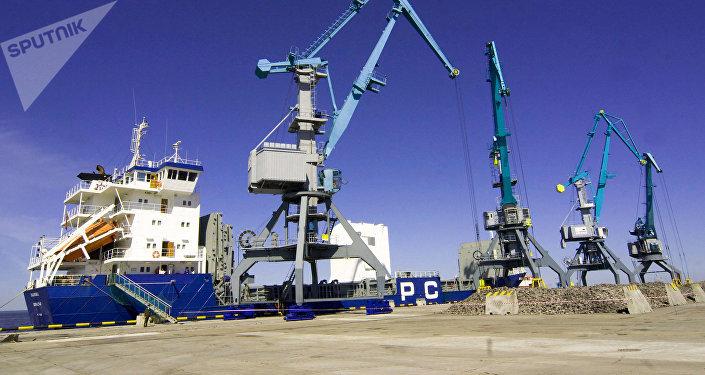 El puerto comercial ruso de Ust-Lug, en la región de San Petersburgo
