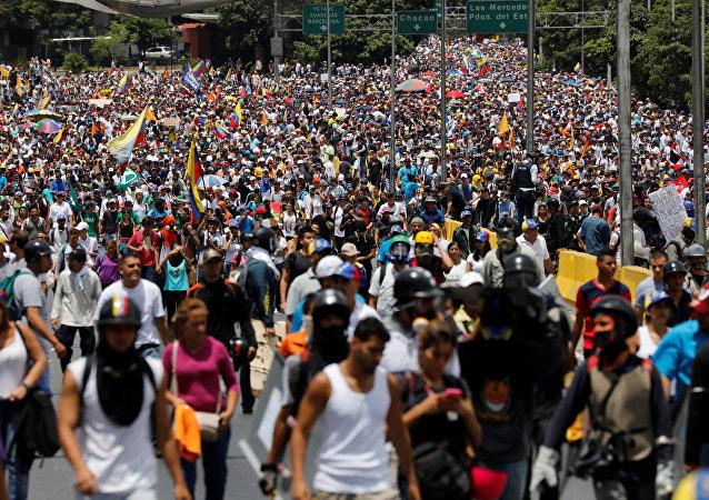 Las manifestaciones en Caracas, Venezuela