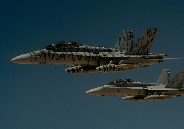 Cazas F-18 Super Hornet (archivo)