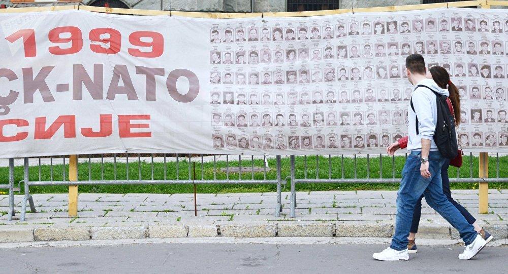 Homenaje a las víctimas de los bombardeos de la OTAN sobre Yugoslavia