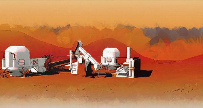 Colonia en Marte, dibujo