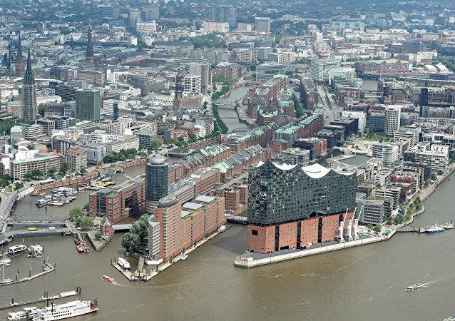 Vista aérea de Hamburgo, Alemania
