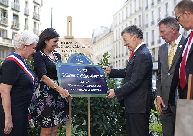 Inauguración de la plaza Gabriel García Márquez en París