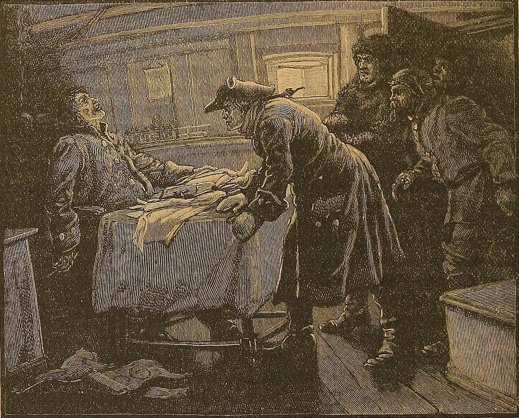 Ilustración antigua del momento en el que la tripulación entra en el camarote y descubre al capitán congelado.