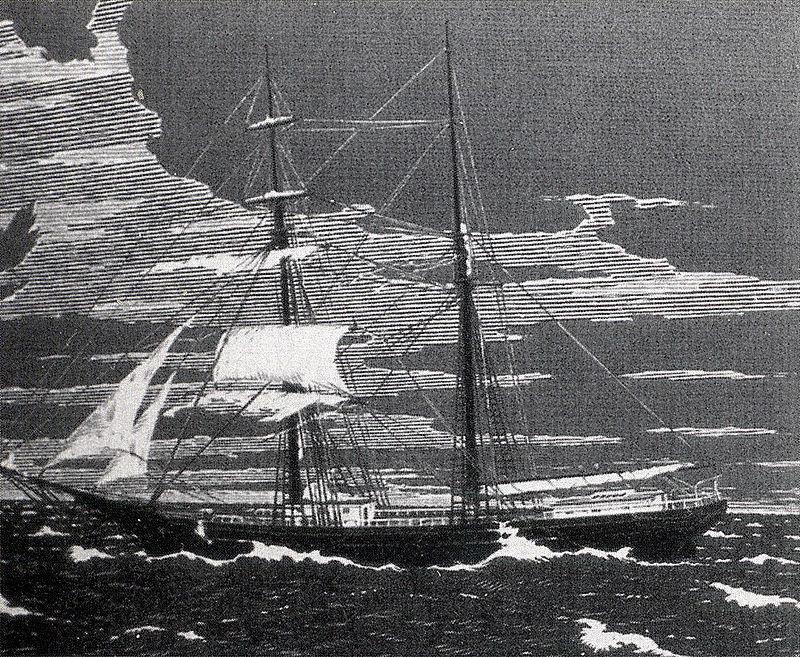 Ilustración del aspecto de Mary Celeste, una de las pocas que se conservan del navío
