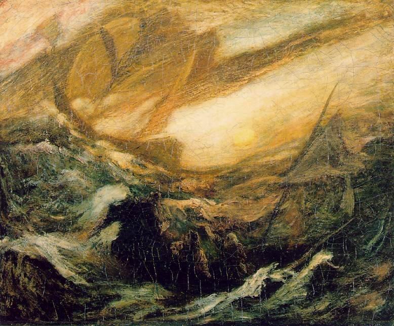 Los ocupantes de una pequeña embarcación, en primer plano, mirando hacia el mar mientras aparece el Holandés Errante ante ellos