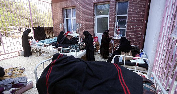 Enfermos de cólera en Yemen