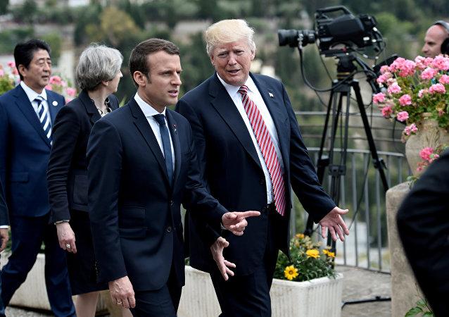 Presidente de Francia, Emmanuel Macron, y presidente de EEUU, Donald Trump (archivo)
