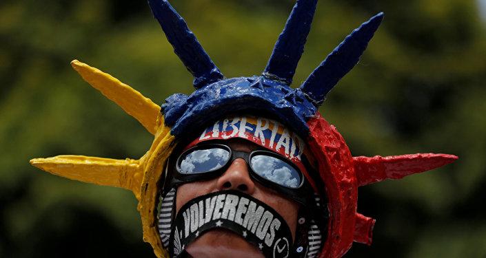 Un manifestante en Venezuela