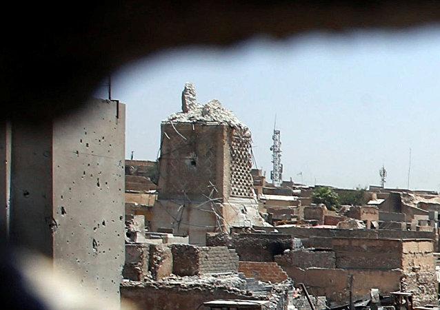Los restos de la mezquita de al Nuri en Mosul, Irak (archivo)