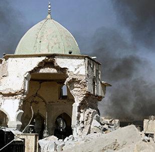Los restos de la mezquita de Al Nuri en Mosul, Irak