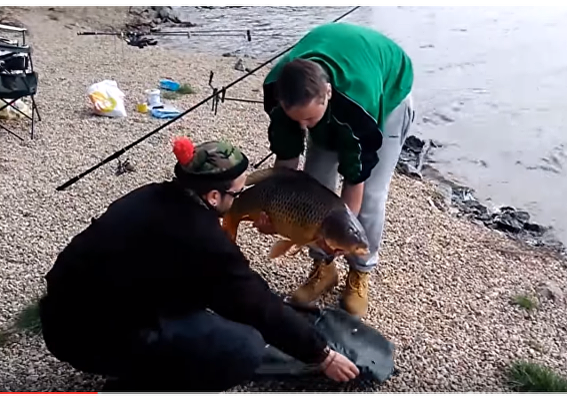 Una carpa gigante huye de su pescador mientras este posa para la foto