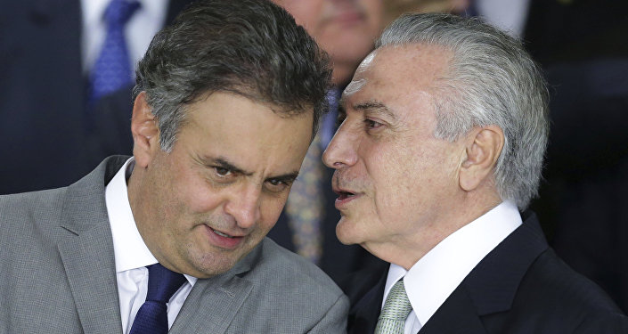Senador brasileño Aécio Neves, y presidente de Brasil, Michel Temer