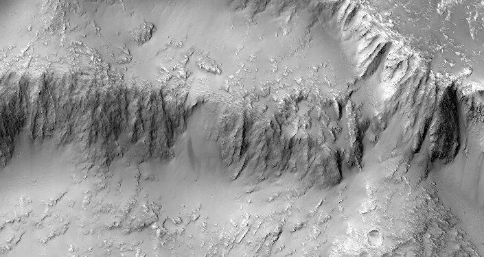 Imágen de la altiplanicie volcánica Tharsis, en el planeta Marte