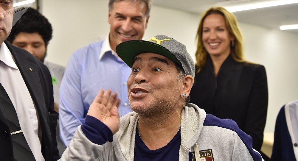 Diego Armando Maradona en Moscú, 30 de junio de 2017