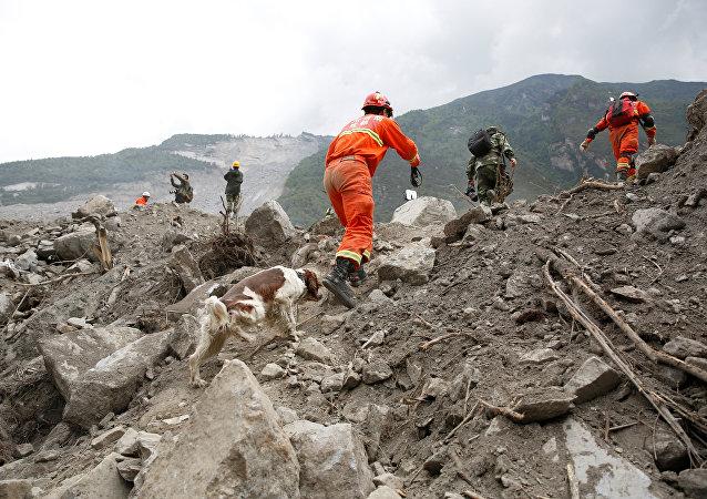Lugar del deslizamiento en la provincia de Sichuán,China