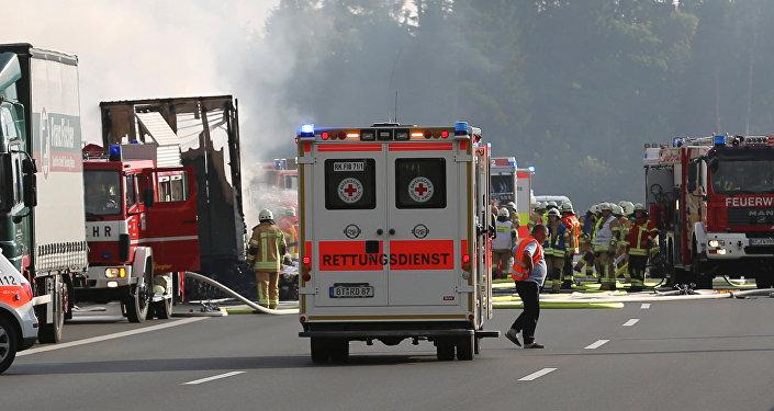 El lugar del accidente de autobús en Baviera, Alemania