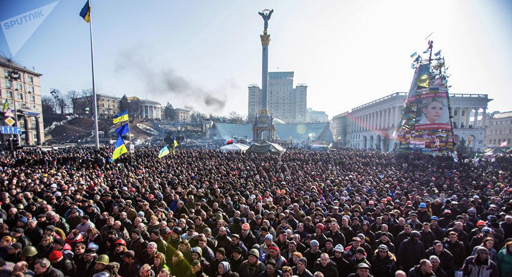 Manifestación de protesta en la Plaza de la Independencia (Maidán) de Kiev, 2014