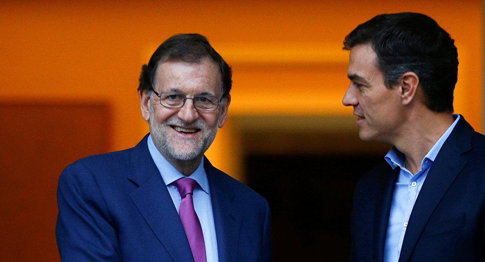 Mariano Rajoy, presidente del Gobierno español, y Pedro Sánchez, secretario general del PSOE