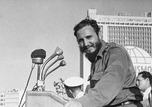 Fidel Castro en la Plaza de la Revolución de La Habana