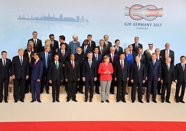 Los líderes de la cumbre del G20 en Hamburgo
