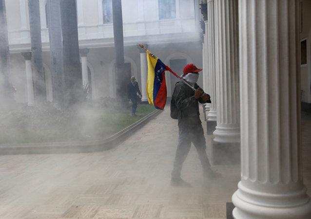 Disturbios en el edificio de la Asamblea Nacional en Venezuela