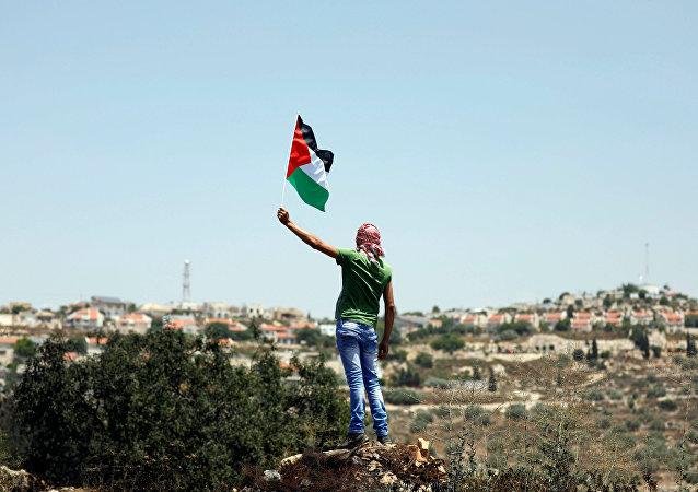 Un protestante con la bandera de Palestina (archivo)