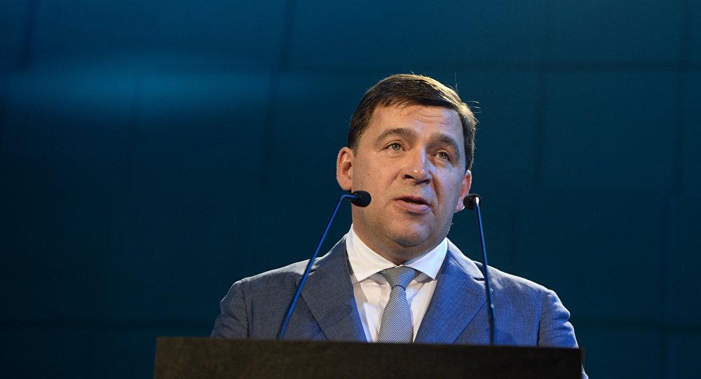 El gobernador de la región rusa de Sverdlovsk Evgueni Kuivashev en la exposición internacional Innoprom 2016