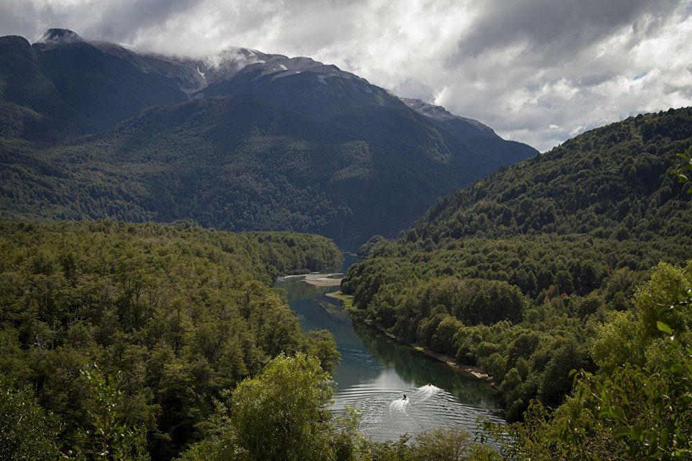 Arrayanes river that links Futalaufquen and Verde lakes at Los Alerces national park in the Patagonian province of Chubut, Argentina
