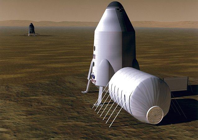 Un habitat en Marte, concepto de un artista