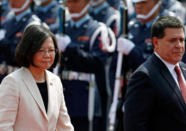 El presidente de Paraguay Horacio Cartes  y  la presidenta de Taiwán Tsai Ing-wen
