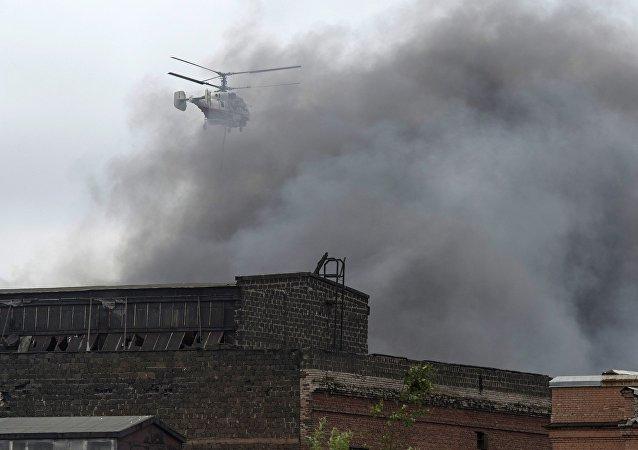 Incendio en la fábrica de maquinaria Kírov en San Petersburgo
