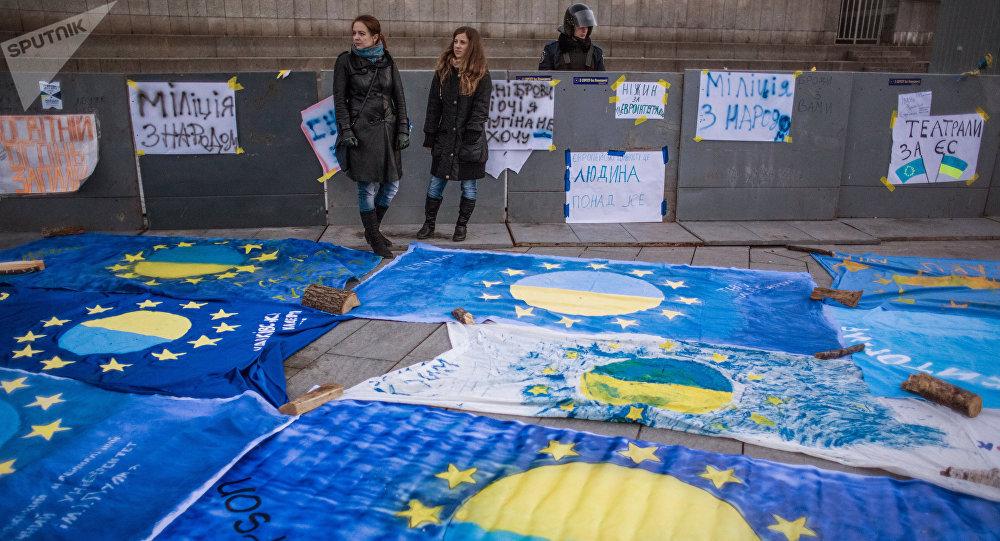 La manifestación en apoyo a la asociación Ucrania-UE (archivo)