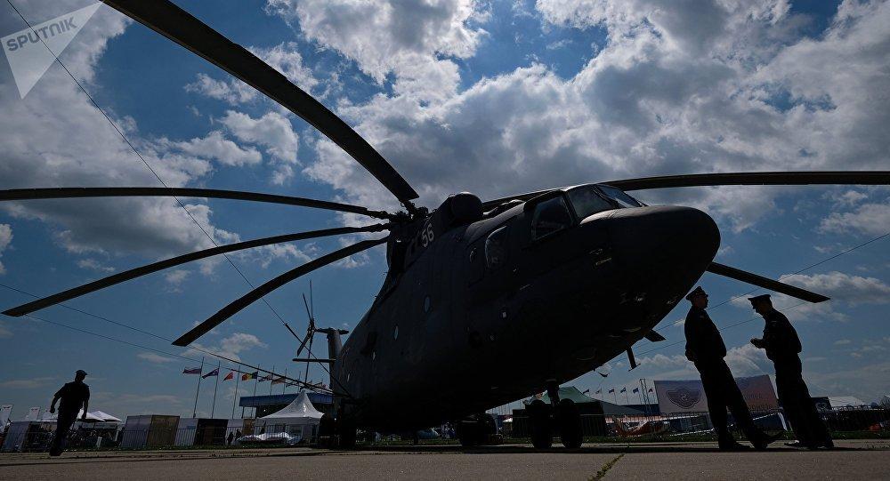 Un helicóptero Mi-26 en el Salón Aeroespacial Internacional MAKS 2017