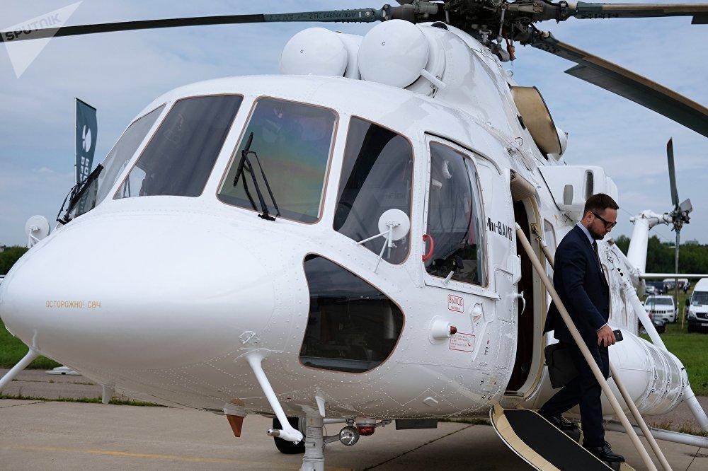 El Mi-8AMT durante el Salón Internacional de la Aviación MAKS-2017 de Moscú