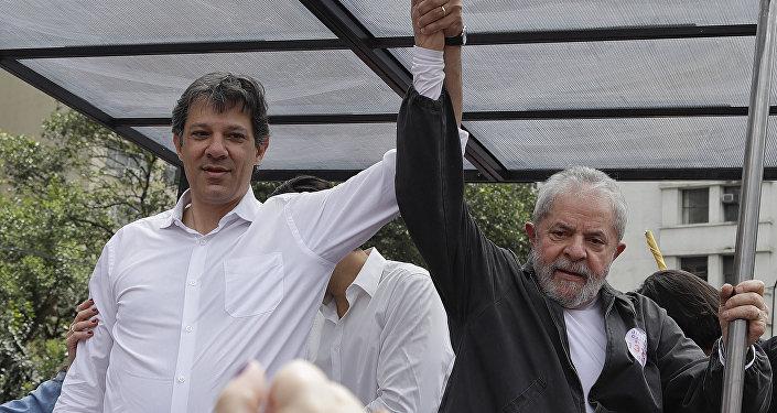 Exalcalde del municipio de São Paulo, Fernando Haddad, y expresidente brasileño, Luiz Inácio Lula da Silva