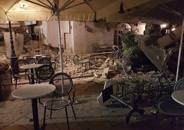 Edificios destruidos en Grecia