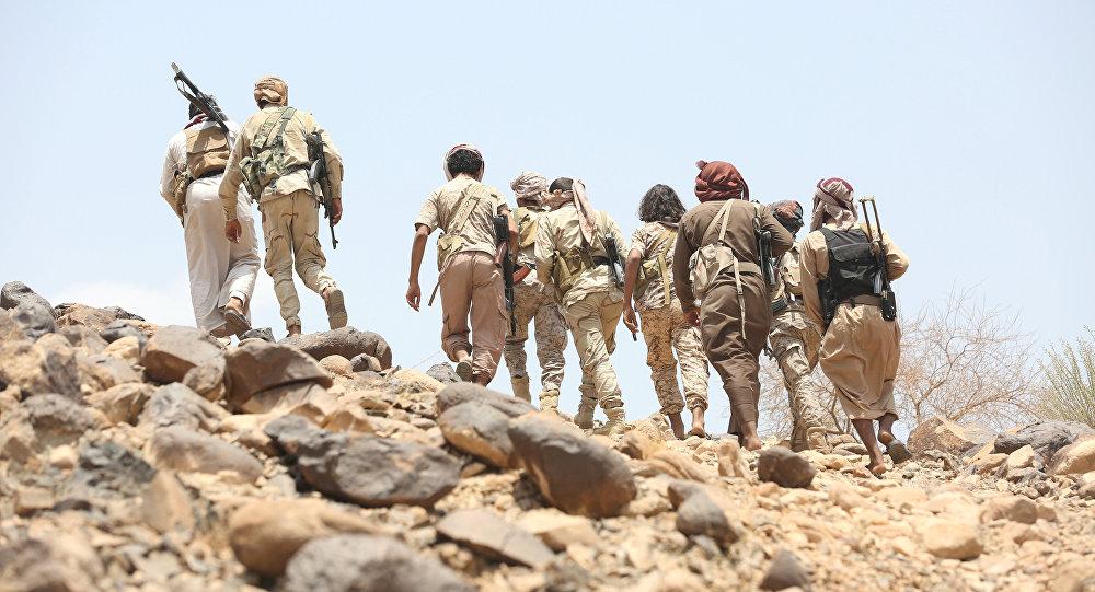 Los combatientes leales al presidente legítimo Abdo Rabu Mansur Hadi en Yemen